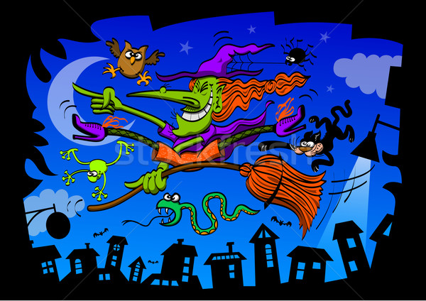 Crazy witch, with all her pets, riding her broom in the middle of the night Stock photo © zooco