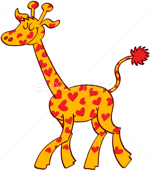 Red Heart Spotted Giraffe Stock photo © zooco