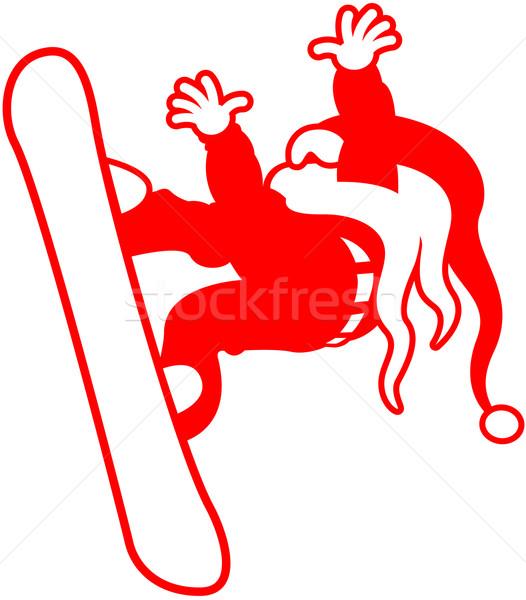 Kerstman snowboarden dapper lang witte Stockfoto © zooco
