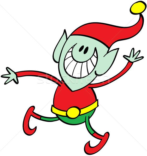 Karácsony manó integet szép zöld fülek Stock fotó © zooco