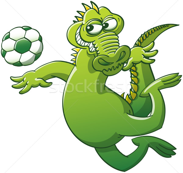 Brave alligator heading a soccer ball Stock photo © zooco