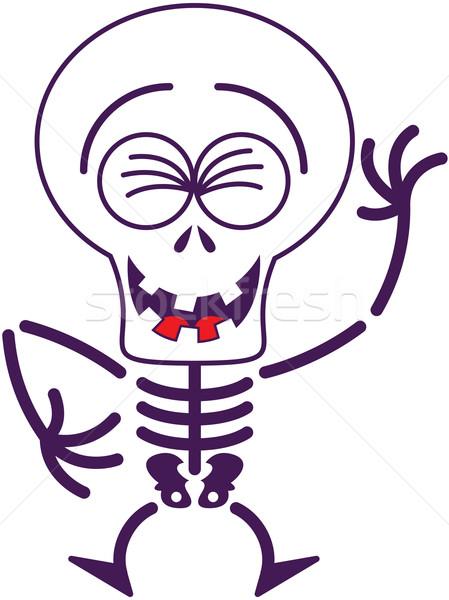 Cool Halloween skeleton laughing enthusiastically Stock photo © zooco