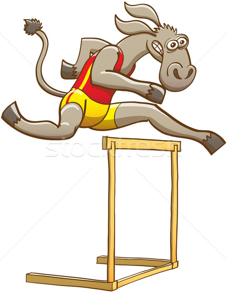 Donkey running and jumping over a hurdle Stock photo © zooco