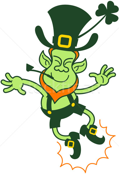 Happy Leprechaun Jumping and Clapping his Feet Stock photo © zooco