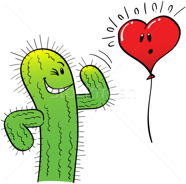 Naughty Cactus Attracting a Heart Balloon Stock photo © zooco