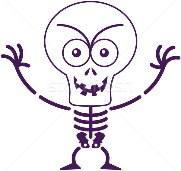 Yaramaz halloween iskelet poz gülen kötü niyetli Stok fotoğraf © zooco