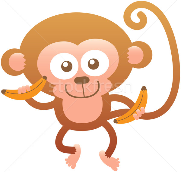 Cute friendly monkey smiling and holding bananas Stock photo © zooco