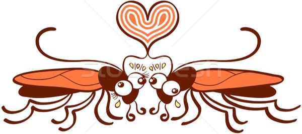 çift çirkin düşen sevmek komik kahverengi Stok fotoğraf © zooco