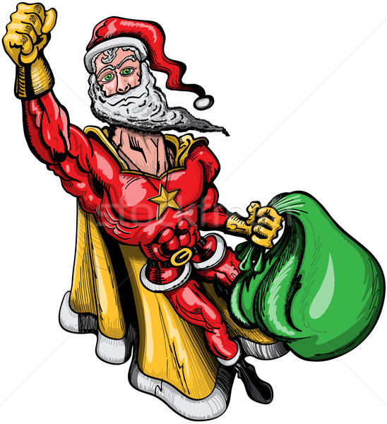 Santa Claus has to be a superhero to be able to distribute gifts around the world Stock photo © zooco