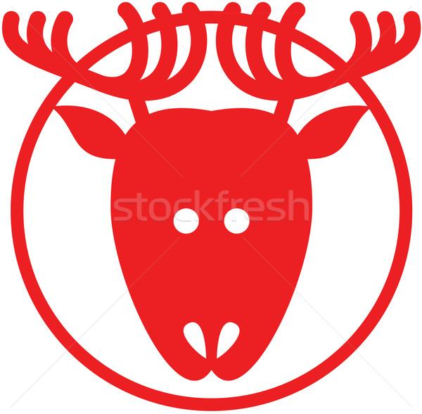 Karácsony rénszarvas avatar piros fülek nagy Stock fotó © zooco