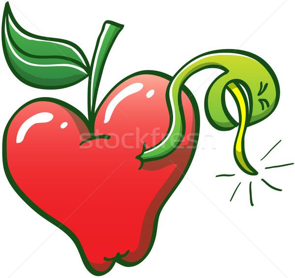 Worm piercing appel slank groene Stockfoto © zooco