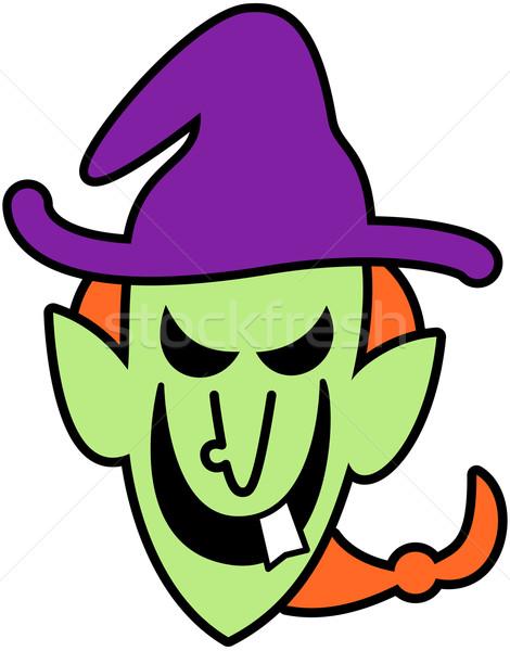 Ondeugend halloween heks scary groene lang Stockfoto © zooco