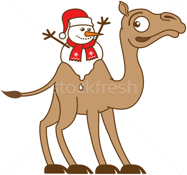 Christmas snowman melting on a camel's back Stock photo © zooco