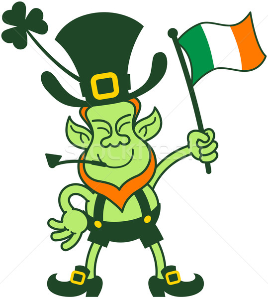 Proud Leprechaun Waving an Irish Flag Stock photo © zooco