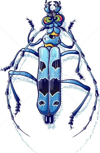 Gyönyörű kék bogár lenyűgöző zöld szemek mérges Stock fotó © zooco