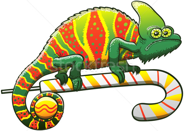 Green chameleon disguised for Christmas celebration Stock photo © zooco