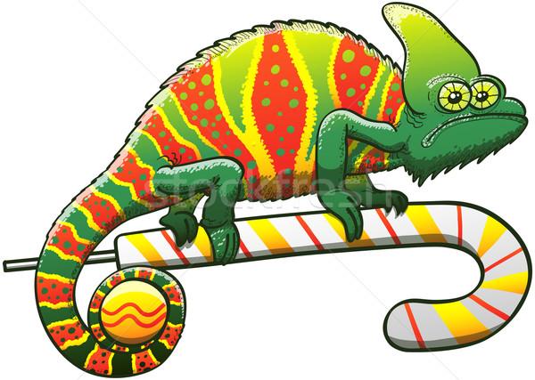 Groene kameleon christmas viering exotisch camouflage Stockfoto © zooco