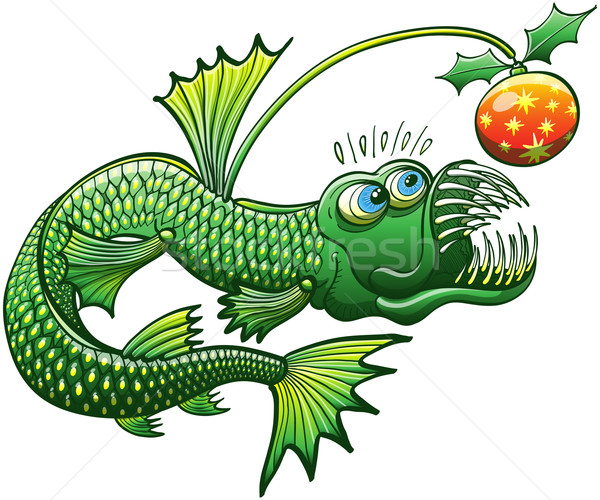 Green angler fish carrying a Christmas decoration Stock photo © zooco