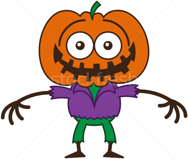 Funny Halloween scarecrow grinning while feeling embarrassed Stock photo © zooco