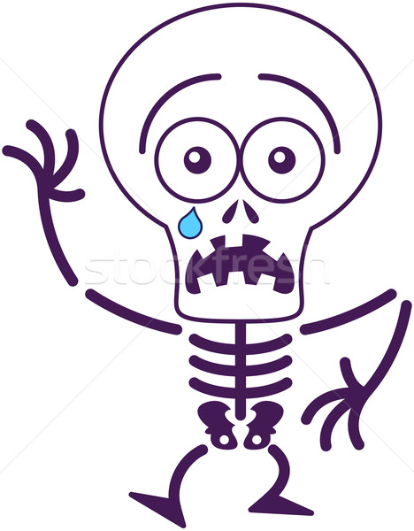Cute Halloween skeleton feeling scared Stock photo © zooco
