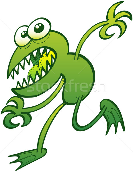 Mutant green frog running away Stock photo © zooco
