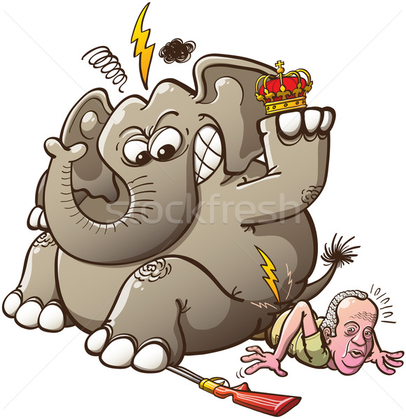 Furious elephant avoiding to be hunted Stock photo © zooco