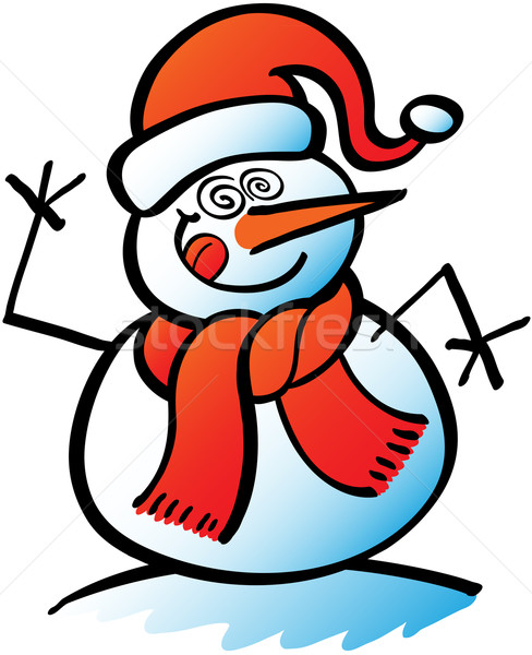Christmas snowman in crazy mood Stock photo © zooco