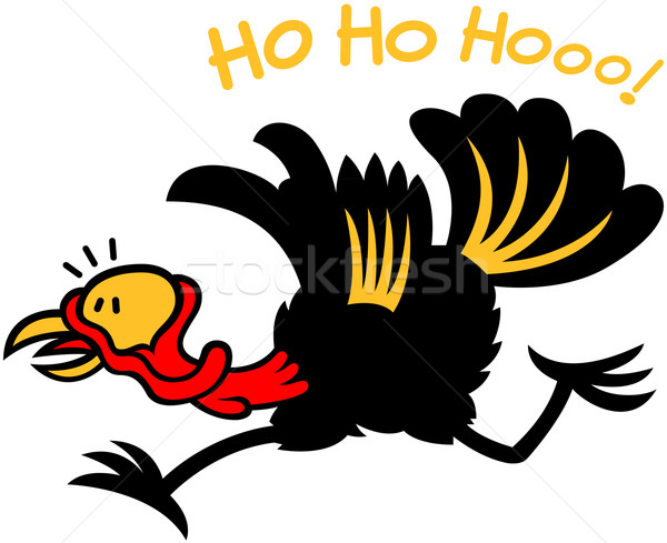 Christmas turkey escaping from Santa laughing Stock photo © zooco