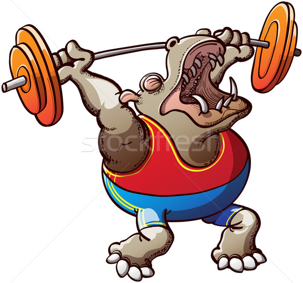 Strong Hippopotamus Lifting Weights Stock photo © zooco