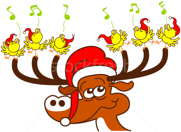 Deer and chickens celebrating Christmas Stock photo © zooco