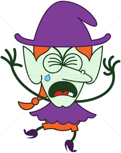 Bonitinho halloween bruxa choro roxo roupa Foto stock © zooco