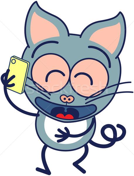 Komik gri kedi konuşma cep telefonu sevimli minimalist Stok fotoğraf © zooco