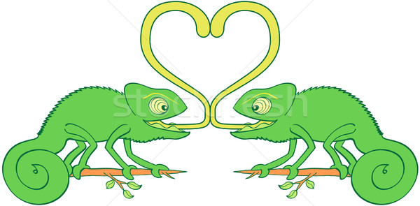 Liefde paar grappig groene ogen gekruld Stockfoto © zooco