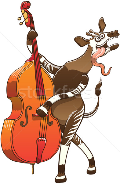 Cool Okapi Playing Double Bass Stock photo © zooco
