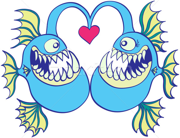 Deep sea fishes falling in love Stock photo © zooco