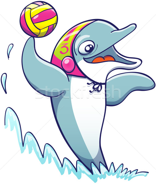 Nice dolphin playing water polo Stock photo © zooco