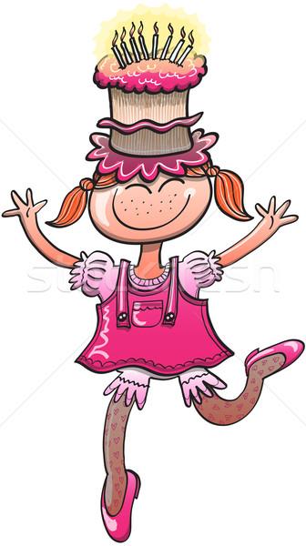 Gyönyörű kislány ünnepel boldog születésnapot szép fiatal lány Stock fotó © zooco