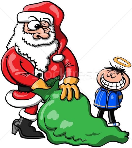 Дед Мороз Рождества подарок мальчика хорошие Сток-фото © zooco