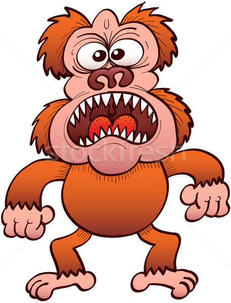 Weird brown ape furiously protesting Stock photo © zooco
