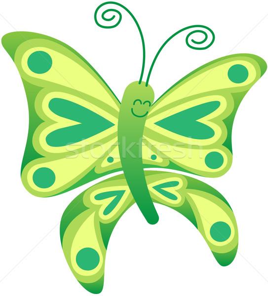 Güzel yeşil kelebek poz gülen sevimli Stok fotoğraf © zooco
