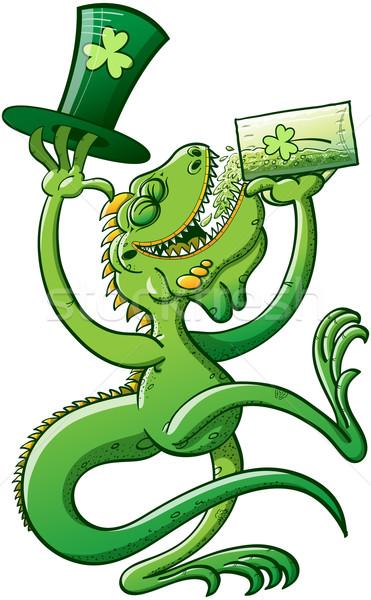 Saint Patrick's Day Iguana Drinking Beer Stock photo © zooco