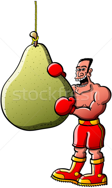 Funny boxer going to eat his pear-like boxing bag Stock photo © zooco