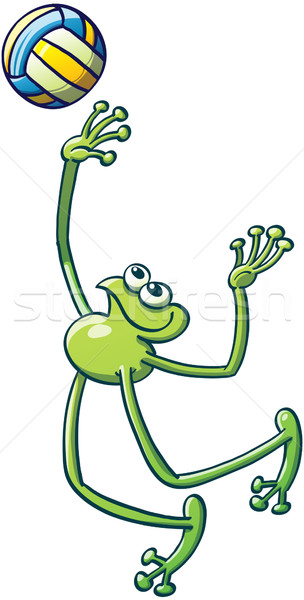 Nice Green Frog Playing Volleyball Stock photo © zooco