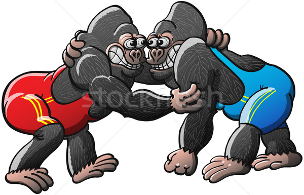 Brave Gorillas Fighting in a Wrestling Combat Stock photo © zooco