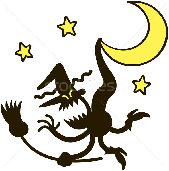 Furious witch hanging from the tip of the moon Stock photo © zooco