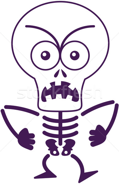 Angry Halloween skeleton feeling furious and protesting Stock photo © zooco