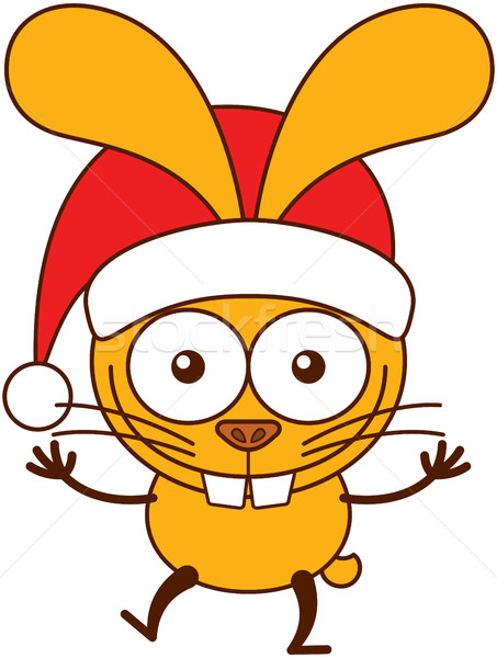 Cute rabbit wearing Santa hat and celebrating Christmas Stock photo © zooco
