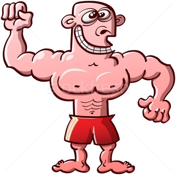 Komik adam vücut geliştirme sergi gururlu Stok fotoğraf © zooco
