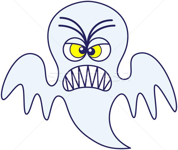 Halloween szellem ijesztő mérges kék minimalista Stock fotó © zooco