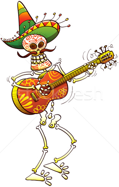 Mexikói csontváz játszik gitár díszített nagy Stock fotó © zooco